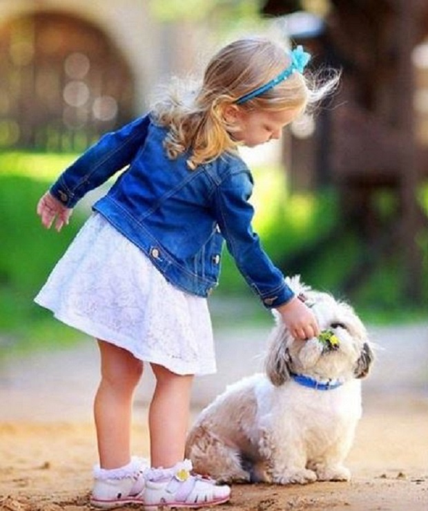 girl walk with dog