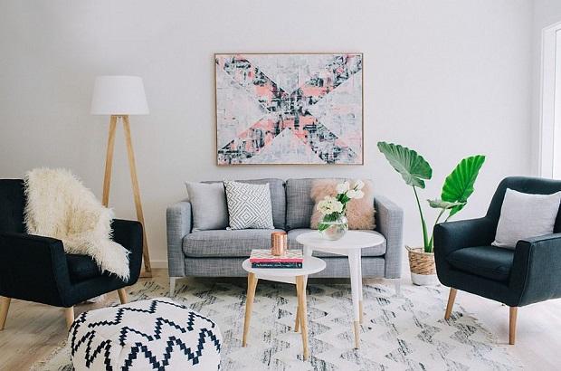 Scandinavian Room with Greenery