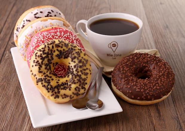 coffee with doughnuts