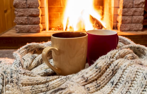 hot-coffee-cup-winter-scarf-fireplace