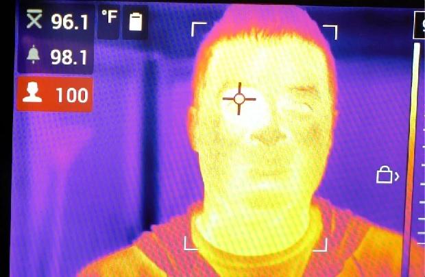 The thermal imaging camera's temperature range