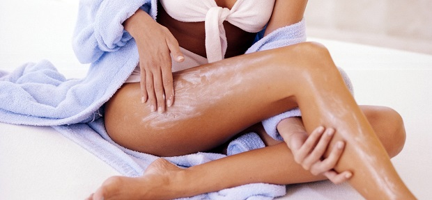 using a body lotion