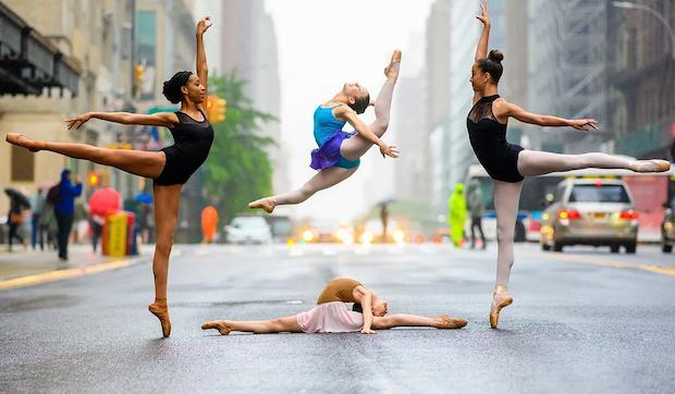 Ballerinas in dance apparel