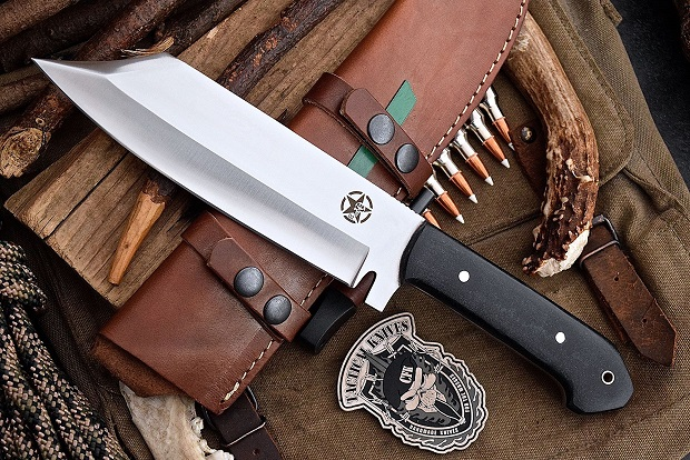 Hunting knife and a leather sheath