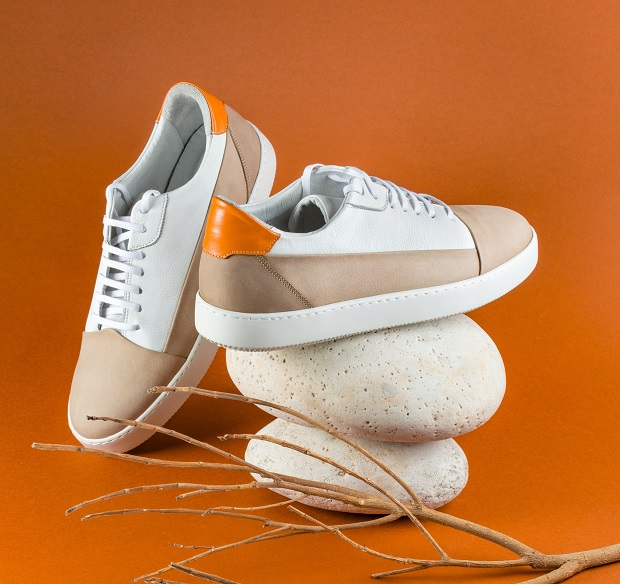 picture of sneakers on a rock beside a branch on an orange background