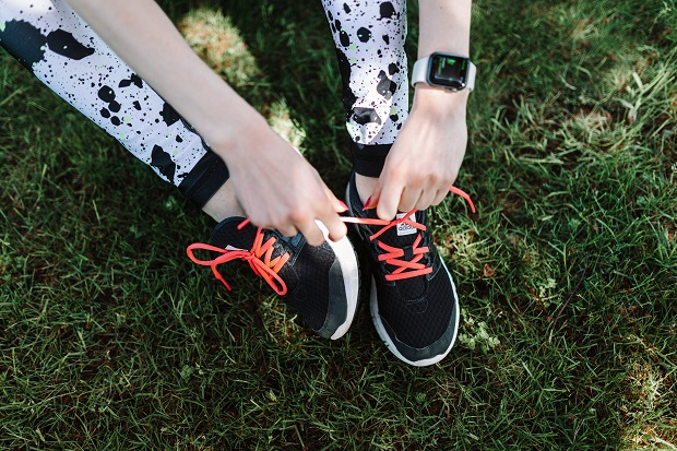 picture of a person with lace up shoes