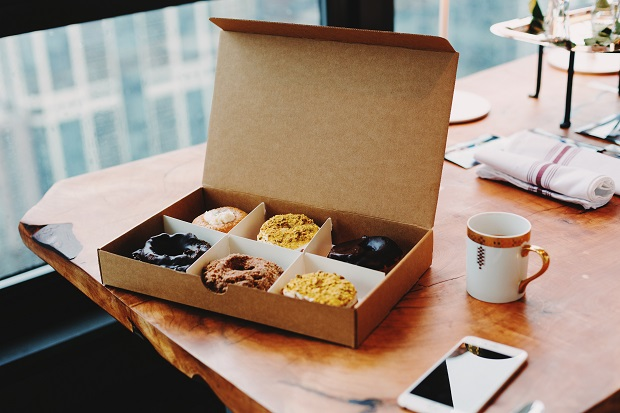sweet box on wooden table